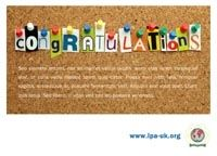 congratulate someone with a congratulations card from the ipa